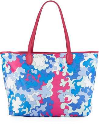 Emilio Pucci Printed Fabric Beach Tote Bag