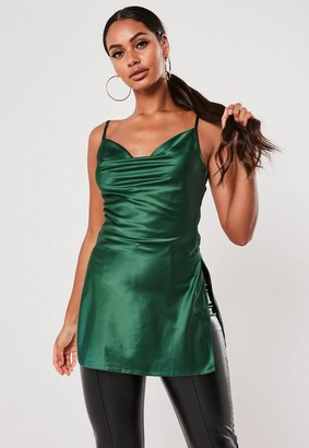 Missguided Teal Satin Cowl Neck Long Cami Top
