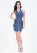 Bebe Denim Lace Up Dress