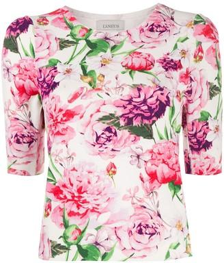 Laneus floral print fine knit T-shirt