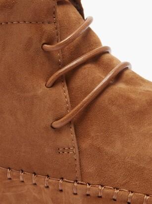 Totême Square-toe Lace-up Suede Ankle Boots - Tan