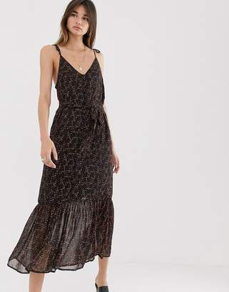 Gestuz Almina recycled polyester ditsy print cami midi dress-Black