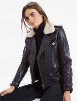 Lucky Brand Sherpa Collar Leather Moto Jacket