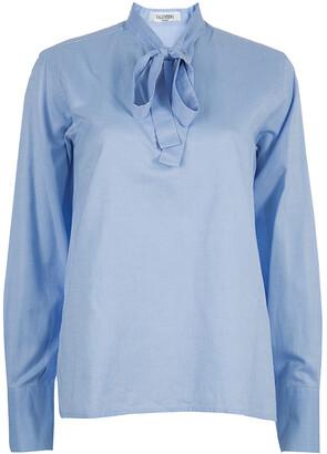 Valentino Blue Tie Neck Long Sleeve Shirt M