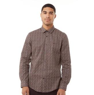 Ben Sherman Long Sleeve Printed Poplin Shirt Camel