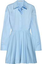 Stella McCartney Leile Fluted Cotton-twill Mini Dress - Sky blue