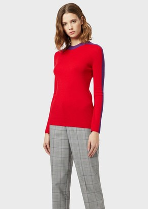 Emporio Armani Pure Virgin Wool Sweater With Side Band
