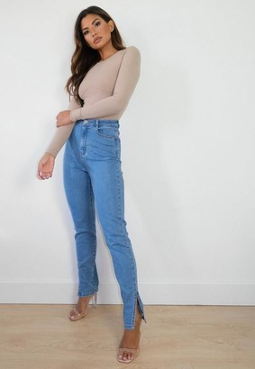 Missguided Light Blue Comfort Stretch Split Hem Jeans