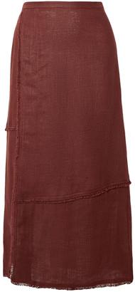 STAUD Carmela Frayed Linen Midi Skirt