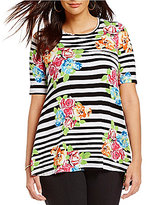 Multiples Scoop Neck Stripe Floral Overprint Elbow Sleeve Knit Top