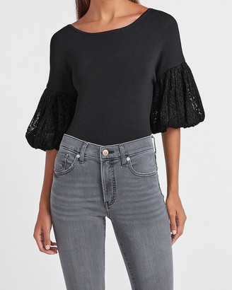Express Lace Short Sleeve Sweater