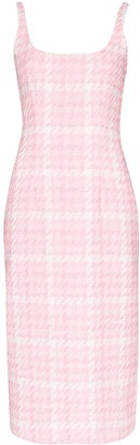 Alessandra Rich Houndstooth Tweed Midi Dress