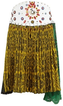 Chopova Lowena - Pleated Tapestry Wool-blend Midi Skirt - Womens - Multi