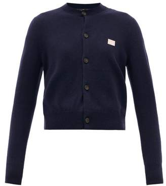 Acne Studios Keva Face Wool Cardigan - Womens - Navy