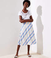 LOFT Petite Striped Covered Button Skirt
