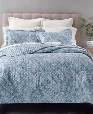 Charter Club Damask Cotton 210-Thread Count 3-Pc. King Quilted Printed Coverlet Set, Created for Macy's Bedding