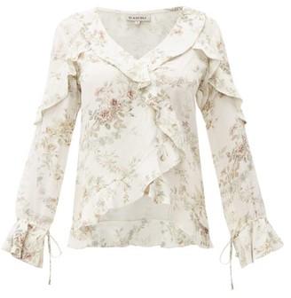 D'Ascoli Bedford Floral-print Ruffle-trim Silk Top - Beige