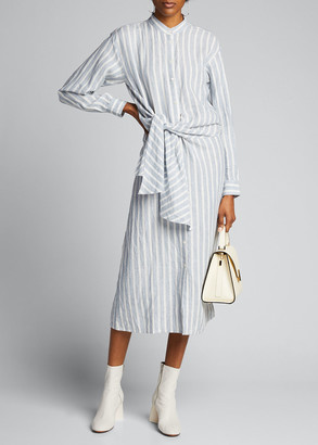 Frame Striped Tie-Front Button-Down Dress