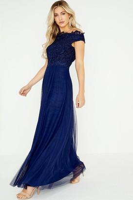 Little Mistress Lizzy Navy Lace Bardot Maxi Dress