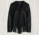 Bernardo Long Sleeve Faux Leather Jacket with Fringe Detail