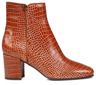 Aquatalia Denisse Croc-Embossed Leather Ankle Boots