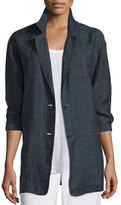 Eileen Fisher Organic Linen One-Button Long Blazer