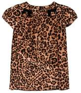 Gucci Girls' Leopard Print Bow-Adorned Dress