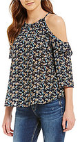 Jolt Floral Printed Cold Shoulder Blouse