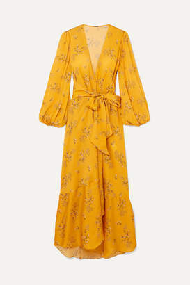Johanna Ortiz Exotic Pitaya Floral-print Silk-satin Wrap Dress - Yellow