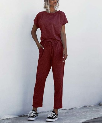 Amasoo Women's Casual Pants wine - Wine Red Tee & Sweatpants - Women, Juniors & Plus