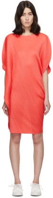 Pleats Please Issey Miyake Red Curved Pleats Dress