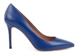 HUGO BOSS Pointed Toe Court Shoes In Italian Leather - Blue