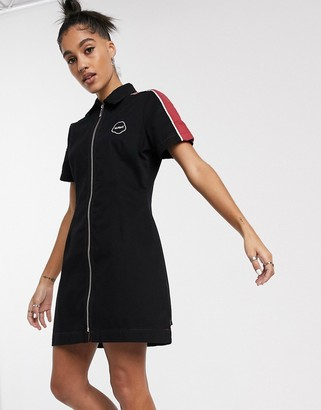 Kickers fitted mini dress with zip front and contrast side stripes-Black
