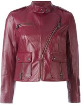 Marc Jacobs cropped biker jacket - women - Lamb Skin/Bemberg - 1