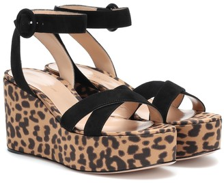 Gianvito Rossi Suede-trimmed platform sandals