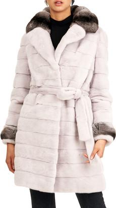 Gorski Horizontal Mink Fur Stroller W/ Chinchilla Top Notch Collar And Cuffs