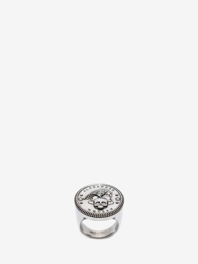 Alexander McQueen Crow & Skull Medallion Ring