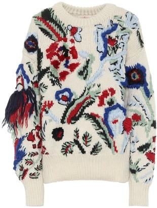 Tory Burch Floral intarsia wool sweater