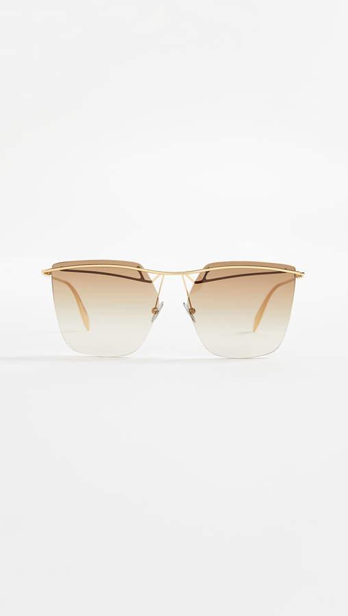 Alexander McQueen Sculpted Metal Rectangular Sunglasses