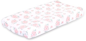 The Peanut Shell Farmhouse Pink Floral Changing Pad Cover