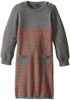 Toobydoo Orange Stripe Sweater Knit Dress (Infant/Toddler)