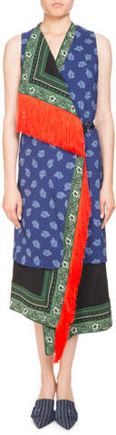 Altuzarra Bina Sleeveless Mixed-Print Faux-Wrap Dress w/ Fringe Trim