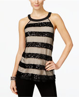 INC International Concepts Sequin-Stripe Halter Top, Only at Macy's