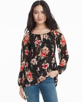 White House Black Market Floral Print Cold-Shoulder Blouse