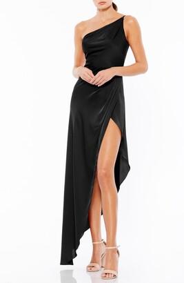 Mac Duggal One-Shoulder Asymmetrical Hem Satin Gown