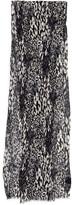 Saint Laurent Long Plisse Leopard Print Silk & Cotton Scarf