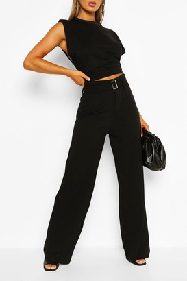 boohoo Belted Wide Leg Trouser