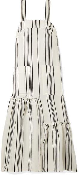 Apiece Apart Senecio Striped Linen And Silk-blend Midi Dress - White