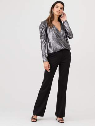 Very Volume Sleeve Wrap Party Top - Silver
