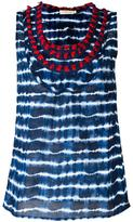 Tory Burch embellished neck striped tank - women - Cotton - 2